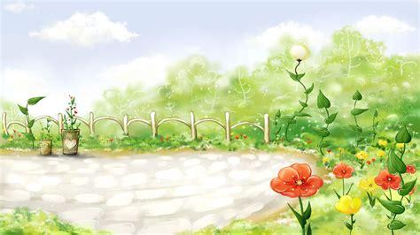 wallpaper garden cartoon cartoon flower garden wallpaper