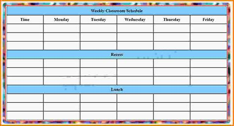 schedule for school template school schedule templates blank weekly class schedule