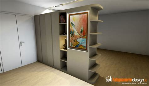 armadio da soggiorno librerie bifacciali su misura costruite in vero legno
