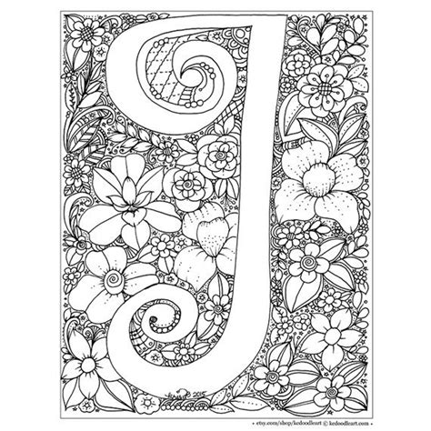 Letter J Coloring Pages For Adults by Instant Digital Coloring Page Letter I