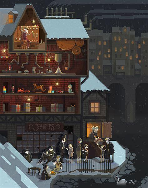 halloween home design games beautiful pixel art illustrations of detailed scenes that