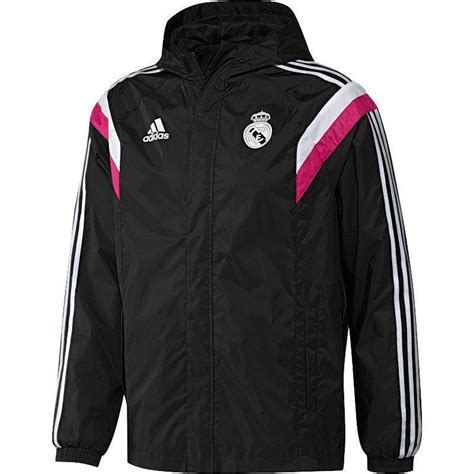 Jaket Windcheater Black Real Madrid real madrid jacket all weather black white blast pink www unisportstore