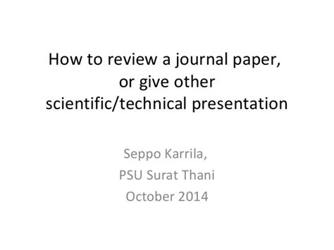 How To Make Paper Presentation - how to review a journal paper and prepare presentation