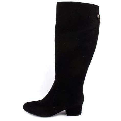 klein camden wide calf suede black knee high