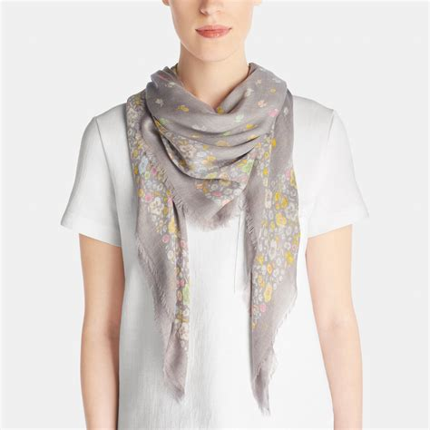 couch scarf coach floral woven oversized square scarf lyst