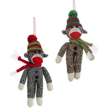 sock monkey tree fabric ornament set 2 nova68 com