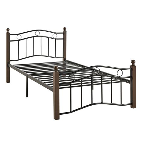 Footboard Bed Frame New Black Brown Metal Mattress Foundation Bed Frame Headboard Footboard Nib Ebay