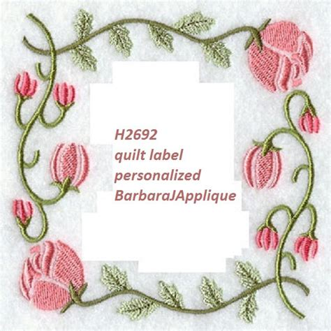 Machine Embroidery Quilt Labels by Quilt Label H2692 Machine Embroidered Personalized