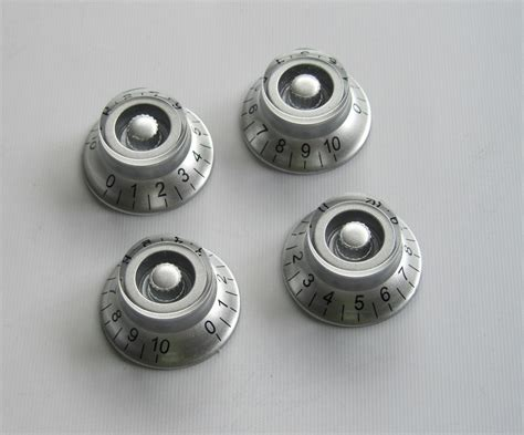 Handle Gitar Up Silver set of 4 lp speed bell knobs guitar top hat knobs silver