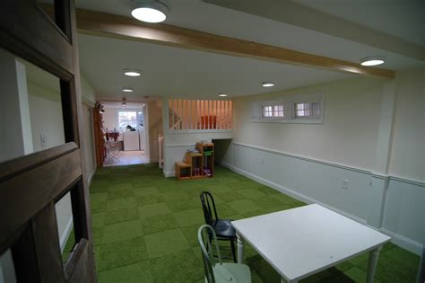 kids playroom in basement basement traditional with powder