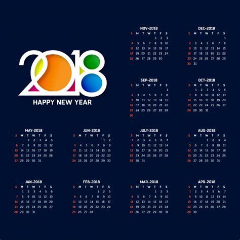 Calendario 2018 Vetor Calendario Azul Oscuro Tipogr 225 Fico Para 2018 Descargar