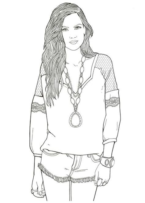 girl model coloring page livres 224 colorier coloration and livre on pinterest