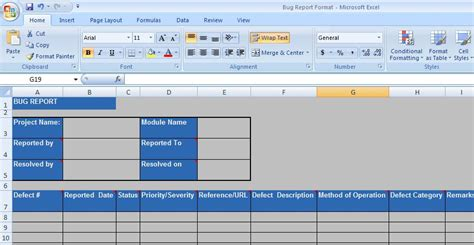bug report template excel defect report template xls professional and high quality