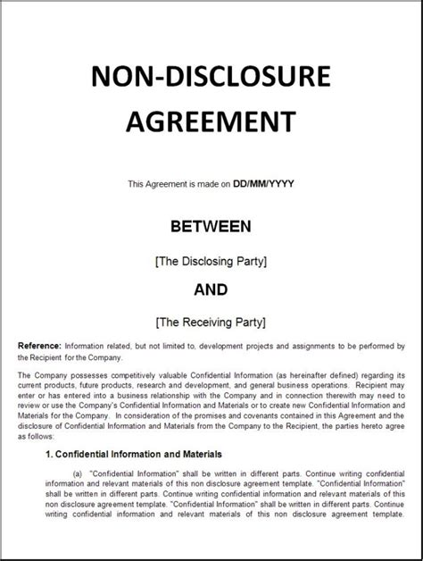 intellectual property non disclosure agreement template nda non disclosure agreement fiverr