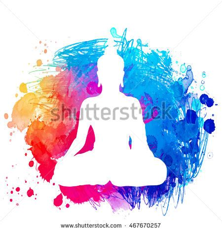 watercolor yoga tattoo sitting buddha silhouette watercolor background stock