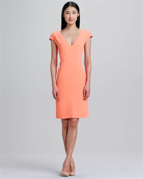 Dress Cape Sleeve 1 lyst roy cap sleeve dress in orange