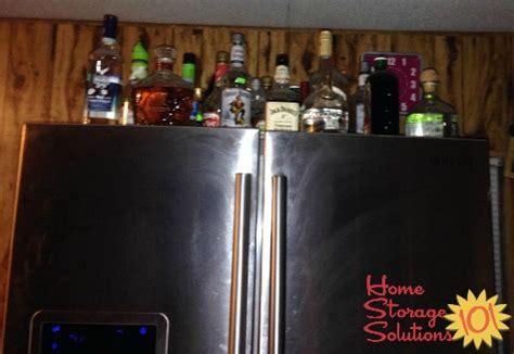 top of fridge storage liquor storage ideas solutions