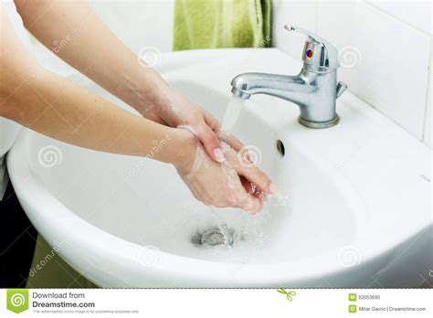 bathroom hygiene washing hands stock photo image 52053690