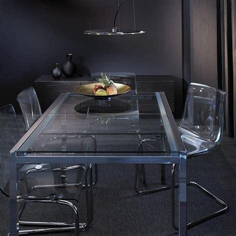 glivarp extendable table white glivarp extendable table in chrome tempered glass seats 4