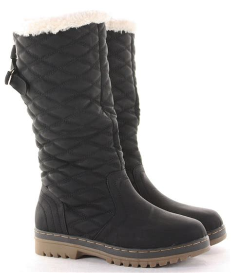 Cheap Comfort Shoes Womens Ladies Flat Knee High Calf Quilted Fur Lined Girls
