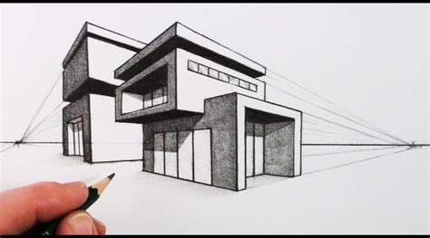modern house drawing how to draw a house in two point perspective modern house