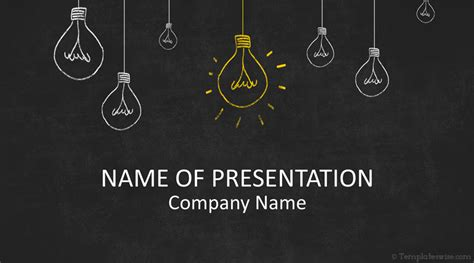 Light Bulbs On Blackboard Powerpoint Template Templateswise Com Chalkboard Powerpoint Templates Free