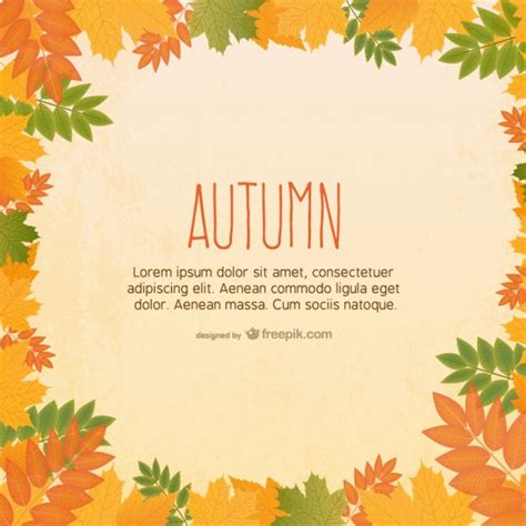 free vector template with autumn leaves vector free download
