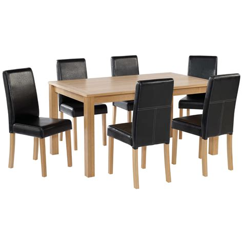 black brown table and chairs oak finish dining table and chair set 6 leather seats