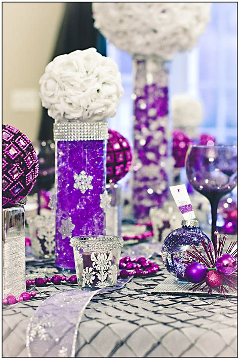 Decoration Heavenly Picture Of Purple Wedding Table Purple And Silver Wedding Centerpiece Ideas