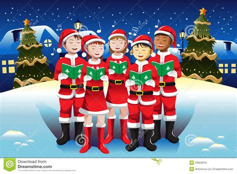 children singing in christmas choir stock vector image