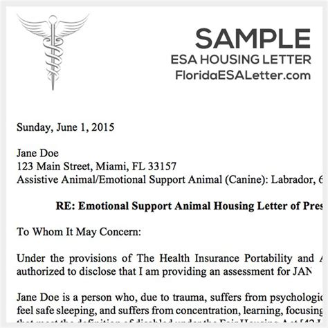 Emotional Support Animal Letter Housing Letter Florida Esa