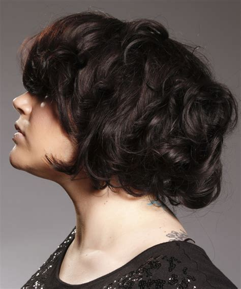swoop bangs with short curly hair short wavy casual hairstyle with side swept bangs mocha