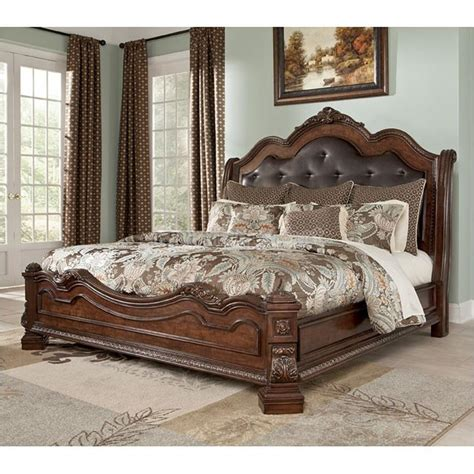 jasper luxury king cherry sleigh bed marble 5 pc bedroom king sleigh bedroom set b705 58 ashley furniture ledelle