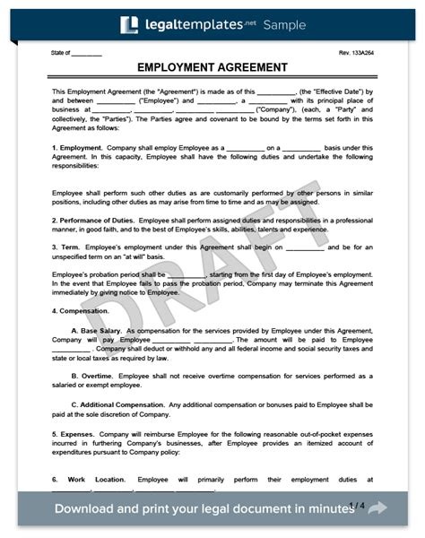 employment agreement create an employment contract in minutes legaltemplates