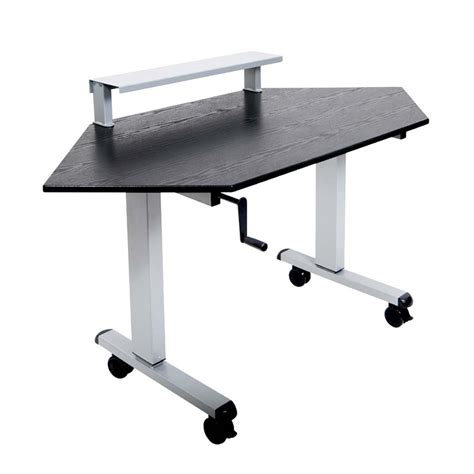 adjustable height corner desk luxor adjustable height stand up corner desk silver and