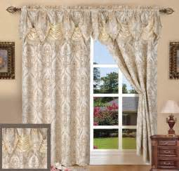 Curtains With Attached Valance Set Of 2 Penelopie Curtain Panels With Attached Austrian Valance 84 Inches Ebay