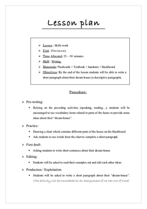 how to write a lesson plan template lesson plan writing activity