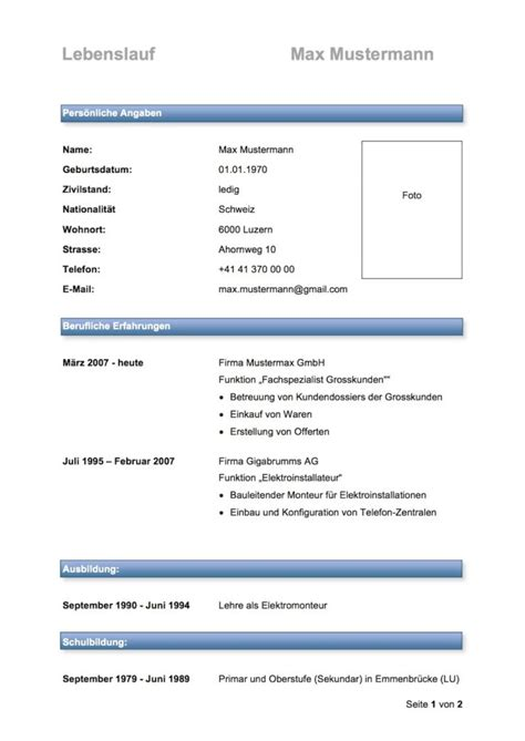 Lebenslauf Vorlage Kostenlos Schweiz Lebenslauf Muster Vorlagen Muster Und Vorlagen Kostenlos