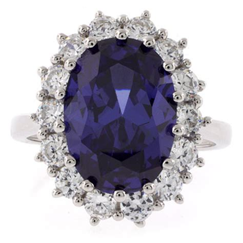 tanzanite sterling silver princess kate style ring