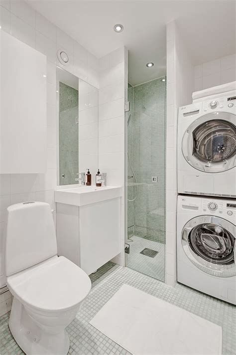 shower and laundry machine side by side home decor