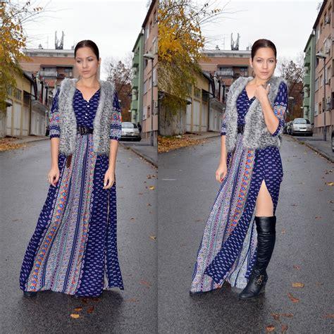 marija m bohemian maxi dress faux fur vest the knee boots 70 s style lookbook