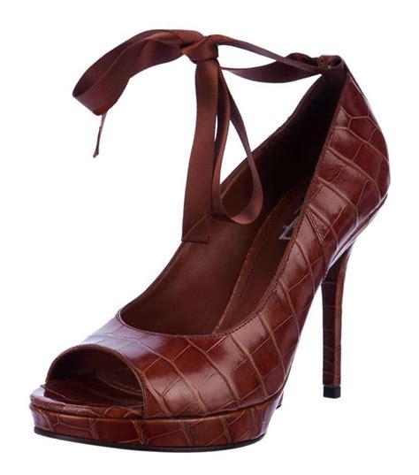 new yves laurent cognac alligator platform shoes at