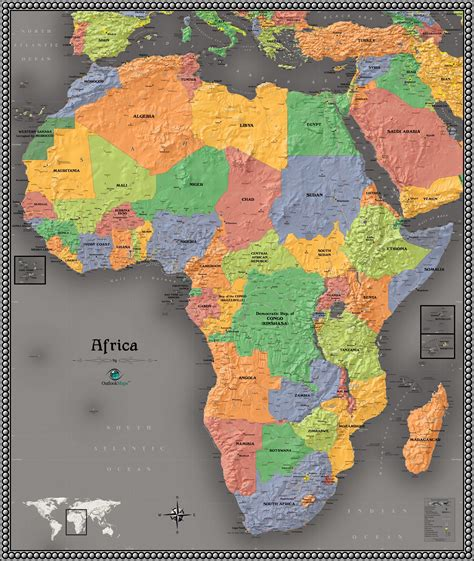 africa map modern contemporary africa wall map maps