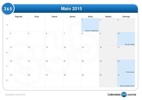 Calendario Maio 2015 Calend 225 Maio 2015