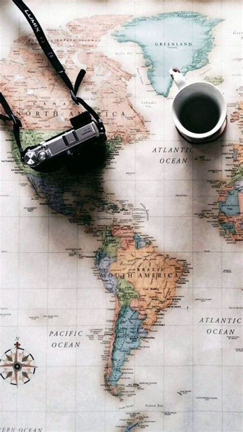wallpaper iphone travel world map travel plans camera coffee iphone 6 wallpaper