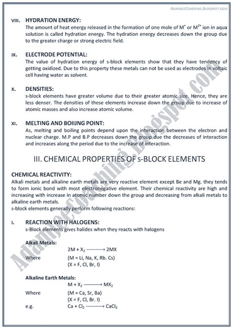 Mba Coxx by Adamjee Coaching Xii Chemistry Notes S Block Elements