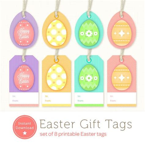 printable easter egg gift tags instant download easter tags set of 8 printable easter
