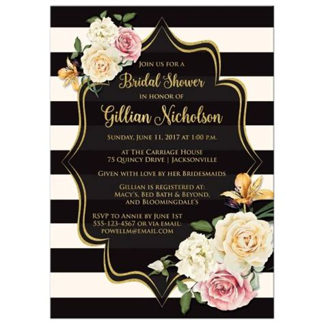 black and gold wedding shower invitations bridal shower invitation black ivory stripes vintage