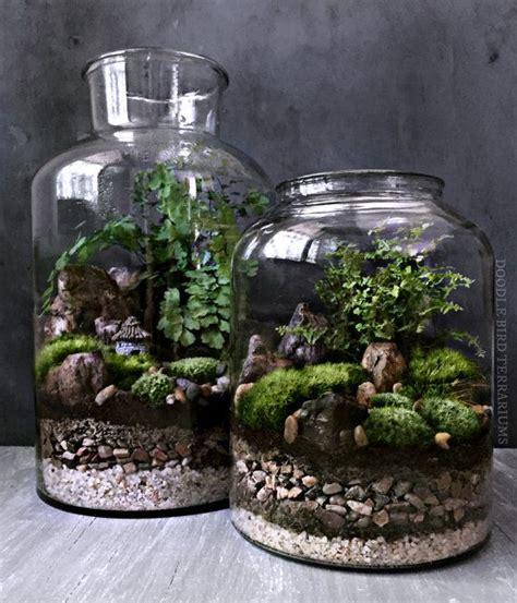 jar badezimmer set waterfall terrarium with live moss plants in hex glass jar