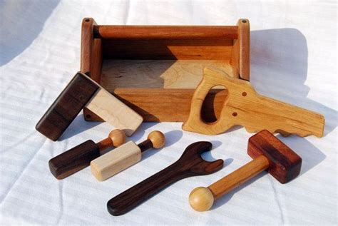 heirloom childrens wooden toy tool set toolbox